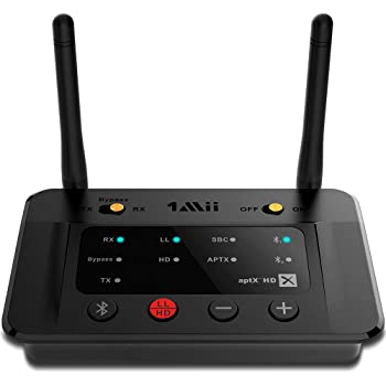 1Mii Long Range Bluetooth 5.0 Transmitter Receiver Bluetooth Audio Adapter Bluetooth Transmitter for TV PC Home Stereo, aptX HD & Low Latency, Optical RCA AUX 3.5mm - B03Pro