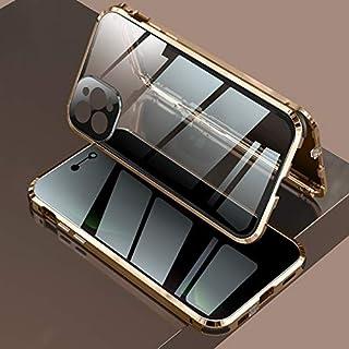 حافظة مغناطيسية جديدة خاصة 360 غطاء معدني من الزجاج المقوى لهاتف آيفون 12 ميني 12 برو ماكس مع حافظة عدسة عالية الدقة (لهات...