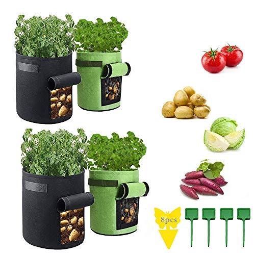 KRIS Kartoffel Pflanzsack,Pflanzsack Aus Filz,Pflanzsack für Erdbeeren,Pflanzsack Tomate,Pflanzsack Kartoffel,Pflanzen Tasche Grow,Gemüse Pflanztasche,Pflanzsack(4pcs)