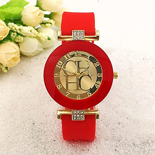 OWZSAN Mujeres Merena De Cuero Simple Ginebra Ginebra Reloj De Cuarzo Casual Relojes De Silicona De Cristal Relogio Reloj De Pulsera Relogio Feminino Reloj Digital (tamaño : Red)