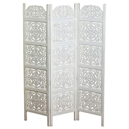The Heritage Home Farmhouse Room Divider, Vintage Style Magnolia Medallions, Handcrafted of Sustainable Mango Wood, Rustic White, Distressed Finish, 6 Ft Tall (72 x 59 inches) by WHW