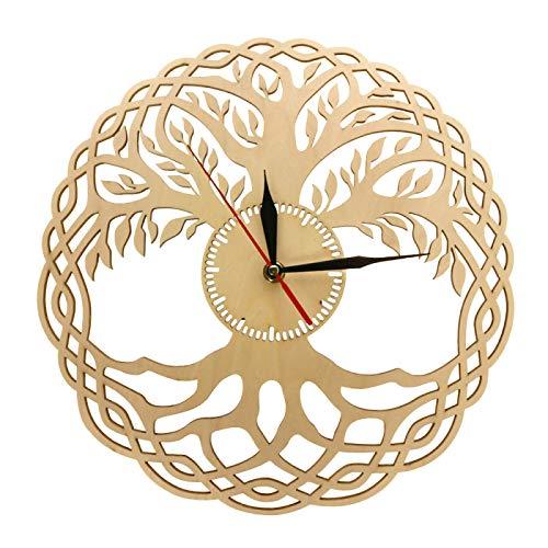 xinxin Wanduhren Moderne Wanduhr Heilige Geometrie Handgemachtes Meisterwerk Rustikaler Holzbaum des Lebens Wanduhr Infinity Tree Home Decor Zen