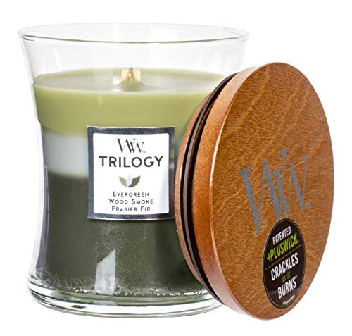 WoodWick Trilogy Mountian Trail - Evergreen, Wood Smoke, Frasier Fir Scented Hourglass Crackling Wooden Wick Candle in Clear Glass Jar, Medium - 9.7 Oz
