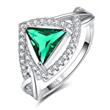 Honghu Anillo de Cristal de topacio Azul de Corte de triángulo de Plata esterlina 925 Anillo de Piedras Preciosas Joyas de Alto Pulido Verde # 7