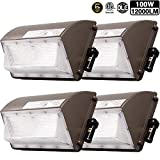 4 Pack 100W New LED Wall Pack with Dusk-to-Dawn Photocell, IP65 Waterproof Outdoor Lighting Fixture, 600-800W HPS/MH Replacement, 12000lm 5000K 100-277Vac ETL&DLC Listed 5-Year Warranty for ZJOJO