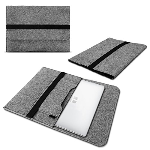 UC-Express Laptop Schutzhülle kompatibel für Trekstor Surftab Theatre 13,3 Sleeve Hülle Tasche aus Filz mit Innentaschen Cover Notebook Hülle, Farbe:Grau