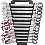 12pc Metric Ratcheting Wrench Set - 100 Teeth Ratchet Combination Wrenches - Patented Box End That Works On Stripped and Rounded Bolts - Professional Grade Ratchet Wrench Set for Mechanics | by Olsa