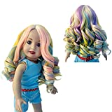 MUZI Wig Doll Hair Wig for 18 Inch American Doll Heat Resist Rainbow Long Curly Hair Doll Wigs for 18'' Dolls Accessories