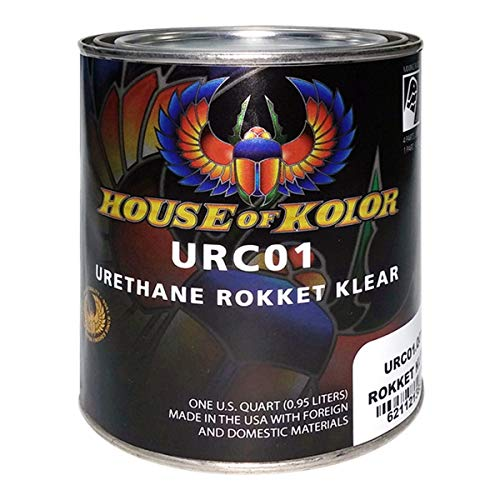 House of Kolor Urethane Rokket Klear | Fast Drying Clear Coat for Small Automotive Parts, No Flash Time Required | 1 Quart