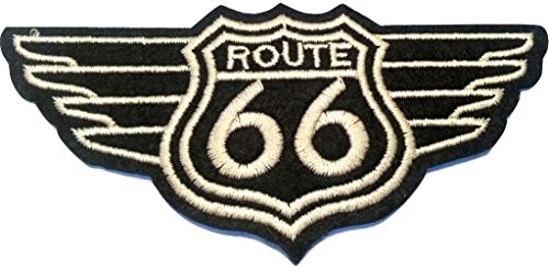 b2see Iron on Bügel Aufnäher Patches Flicken Aufbügler Applikation Kleidung Vintage Route 66 USA 11 cm