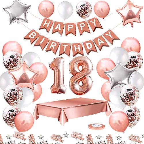 MMTX Globos De Cumpleaños 18 Años Feliz Cumpleaños Decoracion Regalo 18 Regalos Cumpleaños Mujer Oro Rosa con Guirnalda Banner De Cumpleaños para Fiesta,Manteles,Confetti,Globos de Látex Impresos