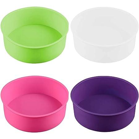 4 moldes redondos de silicona para hornear, molde de repostería, bandeja para hornear, 6 pulgadas (blanco/rojo/púrpura/rosa