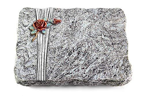 Wilhelmy Grabmale Grabplatte, Grabstein, Grabkissen, Urnengrabstein, Liegegrabstein Modell Strikt 40 x 30 x 5 cm Marina Blue-Granit, poliert inkl. Gravur (Bronze-Color-Ornament Rose 1)