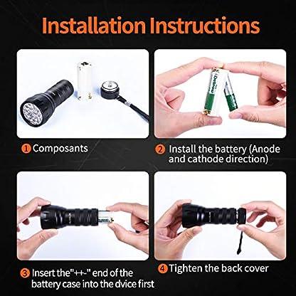 MIU COLOR Black Light UV Flashlight, 21 LEDs 395nm UV Blacklight, Dogs Urine Detector, Handheld UV Flashlight for Dry Stains and Scorpion Hunting 4
