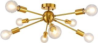 LynPon Iluminación de techo Sputnik, Lámparas de araña Moderna, 8 Luces Latón Dorado Fixture para la Cocina, Comedor, Dormitorio, Café, Bar