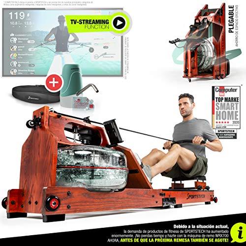 Sportstech Remo de Agua de Primera Calidad I Función de Plegado Patentada + App + Modo Multijugador y Eventos Vídeo I Pulsómetro I Máquina de Remo con Resistencia de Agua - WRX700