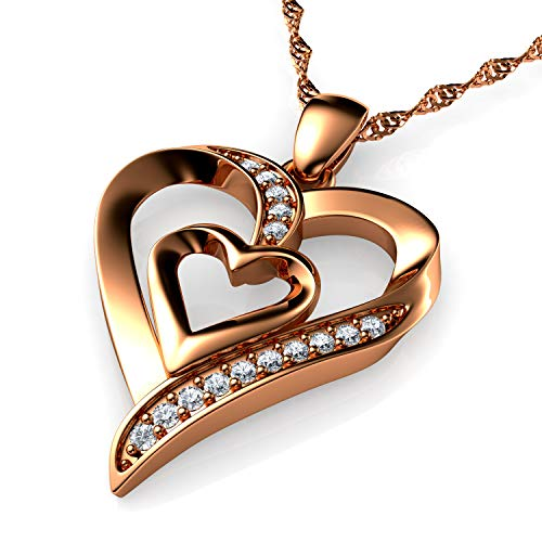 DEPHINI - Heart Necklace - Rose Gold 925 Sterling Silver - Double Love Pendant with CZ Crystals - Woman Jewellery - 18'' Rhodium Plated Silver Chain