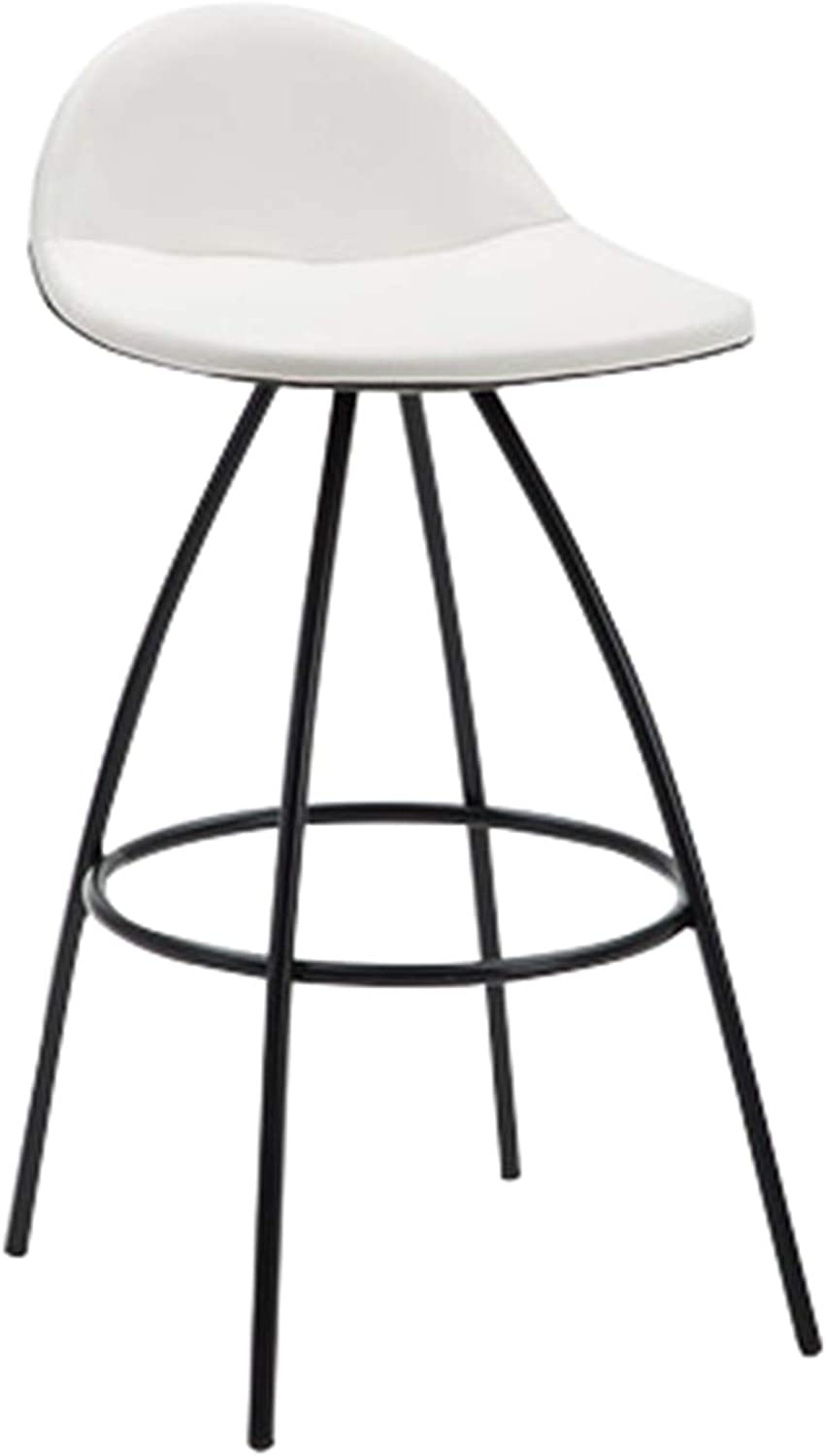 Barstools Retro Bar Stool Kitchen Breakfast Counter Dining Chair with Backrest Metal Frame High Stools-White+Black
