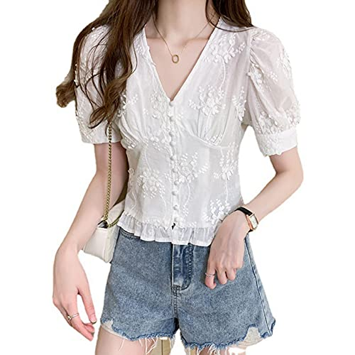 Camiseta con Cuello en V Cómodo Pull On Casual Chic Transpirable Pull On Tops Cómodo hogar Camisa de Encaje con Mangas abullonadas