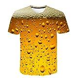 TIFIY Hommes T-Shirt Manches Courtes Drôle 3D Bière Impression Slim Fit Casual Col Rond Chemise Pas Cher(Jaune,M)