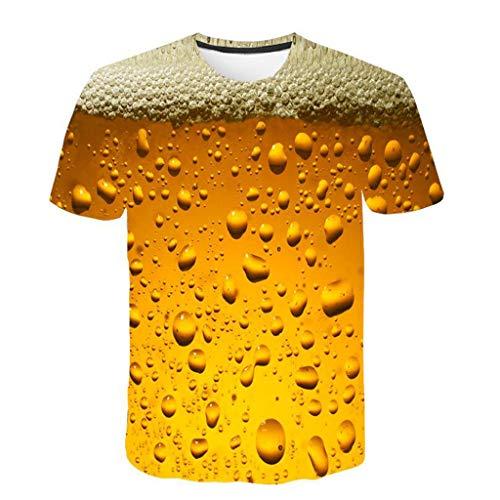 MAYOGO 3D Druck Tshirt Herren Schwarz Sport T-Shirts Oberteile,Männer Sportlich Hot Fire 3D Print Round Hals Hemden Tops Weste … (A-gelb, 5XL)