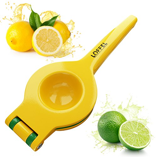 Lemon Squeezer Citrus Lime Juicer - Best Top Rated Heavy Duty Hand Held Manual Double Bowl Orange Press and Fruit Exprimidor de Limones, FDA Quality Approved, Dishwasher Safe