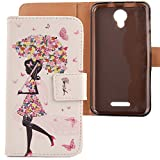 LANKASHI Umbrella Girl Design PU Flip Billetera Funda De Carcasa Cuero Case Protective Cover Piel para Alcatel One Touch Pixi 4 5010D 5'