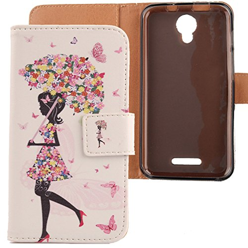 LANKASHI Umbrella Girl Design PU Flip Billetera Funda De Carcasa Cuero Case Protective Cover Piel para Alcatel One Touch Pixi 4 5010D 5