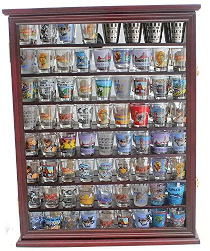 Large 72 Shot Glass Display Case Cabinet Rack Holder-Mirror Back (Cherry Finish)