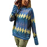 iHENGH Damen Top Bluse Lässig Mode T-Shirt Frühling Sommer Frauen Bequem Blusen Langarm Geometric Print Pullover Rollkragen Tops(Blau, L)
