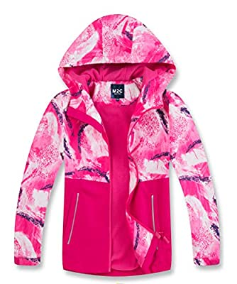 M2C Girls Fleece Lined Waterproof Jacket Color Block Windbreaker Rose 7/8