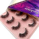 HBZGTLAD Mink Lashes 3D Mink Eyelashes 100% Cruelty free Lashes Handmade Reusable Natural Eyelashes Popular False Lashes Makeup (TDR-08)