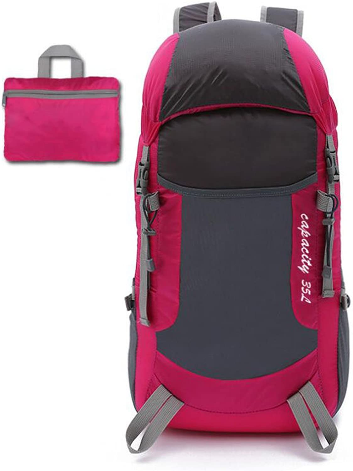 Leisure Folding Pack Excursions Ultralight Skin Pack Travel Backpack Outdoor Backpack Mountaineering Bag Portable Men and Women  Green 35 Liter (color   pink red)