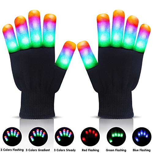 LANIAKEA Led Gloves Light Up Gloves - Led Flashing Gloves - Finger Gloves  for Halloween Novelty, Clubbing Birthday Party - Party Supplies Toys