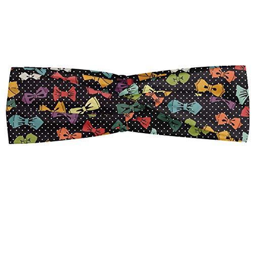 ABAKUHAUS Branché Bandeau, Style vintage Cravate en différentes formes et couleurs sur fond Polka Dotted, Serre-tête Féminin Élastique et Doux pour Sport et pour Usage Quotidien, Multicolore