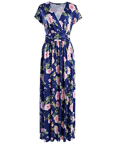 OUGES Women's V-Neck Pattern Pocket Maxi Long Dress(Floral-03,M)