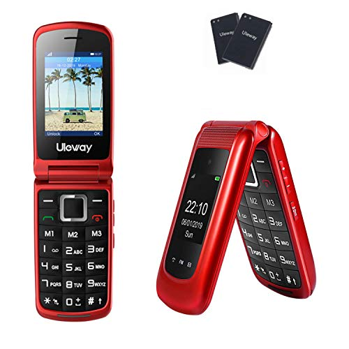 Uleway Unlocked Flip Phone 3G Dual Screen SOS Flip Cell Phones Unlocked Easy to Use T Mobile Flip Phone for Seniors & Kids (Red)