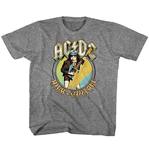 ACDC T-Shirt für Jugendliche, Blau / Gelb, Spannung Lightning Bolt Graphit Heather - Grau - Jugend X-Small