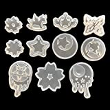 11 Pack Resin Silicone Casting Molds Trays for DIY Jewelry Craft Making, Including Butterfly Cherry Blossom Wooden Horse Sailor Moon and Star Moon Molds