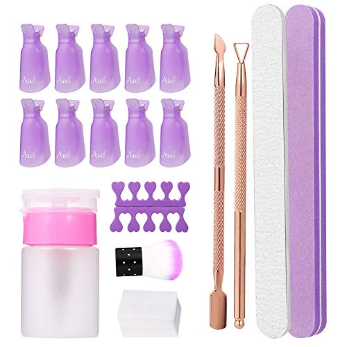 Ruixia Nail Polish Gel Remover Tool Kit With Wipe Cotton Pads, Nail Clips Caps, Triangle Cuticle...