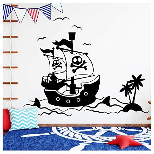 Wandtattoo Piratenschiff mit Schatzinsel Kinderzimmer Wandaufkleber / 24 schwarz / 55 cm hoch x 74 cm breit