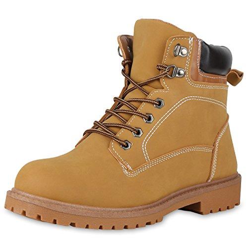 SCARPE VITA Herren Worker Boots Warm Gefütterte Outdoor Schuhe Profilsohle 150016 Hellbraun 42