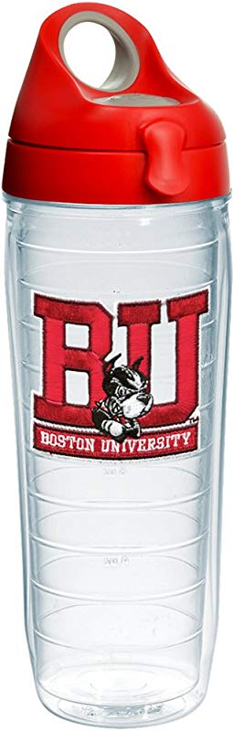 Tervis 1231966 Boston University Terriers Logo Insulated Tumbler With Emblem And Red With Gray Lid 24oz Water Bottle Clear