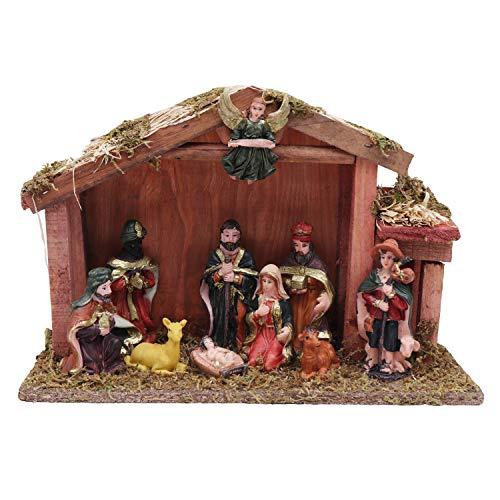 BELLE VOUS Presepe Decorativo in Legno con Natale Statuine Completo Decorazione per Interni - Scena per Il Natale (Disegno 1)