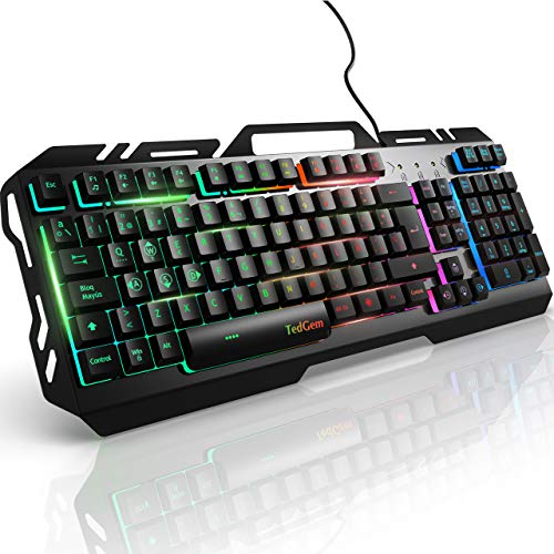Teclados Gaming, TedGem Teclado Gaming, Teclado USB, Teclado Gaming PS4 LED Retroiluminado con Cable USB, Teclado para PC / Laptop / PS4 / Xbox One (Teclados Español, Negro)