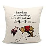 Mancheng-zi Winnie The Pooh and Piglet Pillow Case, Friend Friendship Quote Gift, Back to School Gift, 18 x 18 Inch Linen Cushion Cover for Sofa Couch Bed