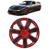 Carparts-Online 33518 Tenzo-R I - Tapacubos para llantas de acero (14', carbono), color rojo