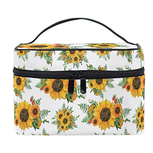 Oil Painting Yellow Sunflower Daisy Makeup Bag Handbag Bag Cosmetic Bag Toiletry Travel Brush Train Case for Women Zip Carrying Portable Multifunctional Organizer Storage Pouch Bags Box