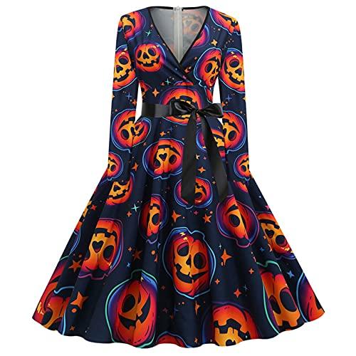 Vestido de cctel de manga larga para Halloween, estilo vintage, vestidos de fiesta de cctel, una lnea de trajes de columpio, azul marino, L