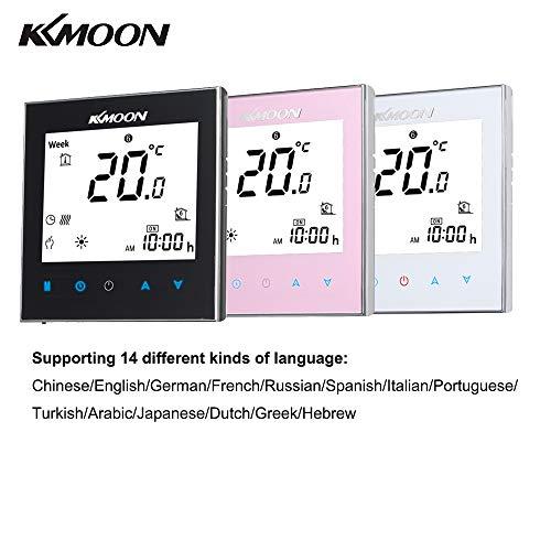 Kecheer Thermostaatverwarming, voor elektrische verwarmingssystemen, vloeren en luchtsensor met wifi-verbinding AC 95-240 V 16 A-touchscreen-LCD-scherm compatibel met Alexa/Google-startpagina/IFTTT